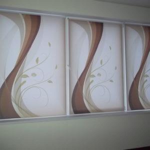 Фотожалюзи,белые с коричневым рисунком