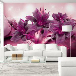 Фотообои, фиолетовые лилии