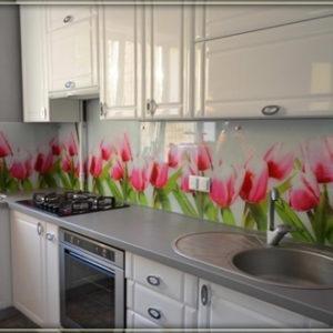 Скинали, белый цвет, с рисунком тюльпанов