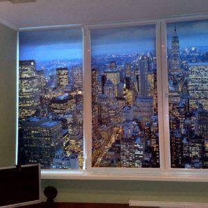 Фотожалюзи с рисунком города и небоскребов