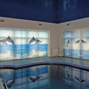 Фотожалюзи с рисунком океана и дельфинов